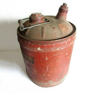 Old Painted Metal Auto Fuel Gas Can Petroliana Vintage Wood Handle FREE SH