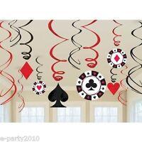 CASINO NIGHT SWIRL DECORATIONS (12) ~ Poker Game Room Birthday Party Supplies