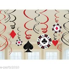 CASINO NIGHT SWIRL DECORATIONS (12) ~ Poker Game Room Birthday Party Supplies