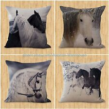 set of 4 horse pillow cushion covers equine interior decoration in home