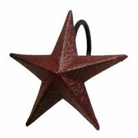 BURGUNDY STAR SHOWER CURTAIN HOOKS, Set of 12 Primitive Metal Hooks