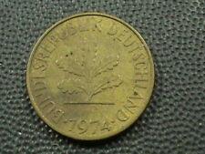 WEST GERMANY  10 Pfennig  1974  -  F  ,   $ 2.99  Maximum  shipping  in  USA