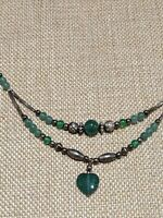 Vintage Silver Tone Artisan Green Nephrite Heart Double Strand Necklace