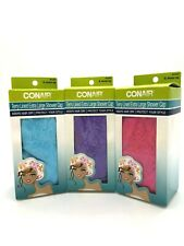 Large Shower Caps w/ Terry Lined XL Assorted Colors Keep Hair Dry Lot of 3