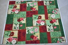 """By 1/2 Yd, Red & Green Floral Patches Fabric/SSI/Pullen/""""Bouquet Moderne"""", N3992"""