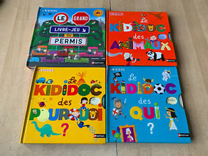 lot 4 livres KIDIDOC : Permis, Qui? Pourquoi? des animaux- Pop Up grands formats