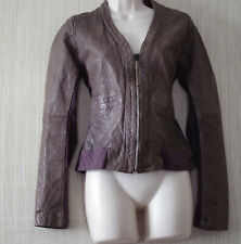 RA RE Flash & Partners Spa. Leather Cotton Stretch  Brown Women Jacket  Size: 44