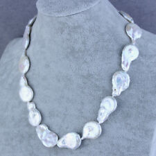 """Freshwater Pearl Necklace Jewelry 20"""" 20-22mm White Drop Coin"""