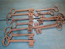 Ancien lot clé clef pleine fer forgé serrure key schlüssel cadenas clés porte ,