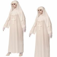 Halloween Damen Nonnenkostüm Weiß Nonne Verkleidung Religiöse Figur Geist