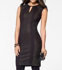 NWT CACHE Sexy Black GOLD LACE PONTE Stretch THICK  Dress Office to Night  12  L