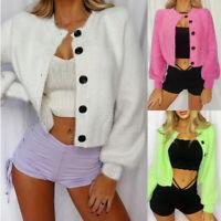 ❤️ Womens Blazer Crop Tops Cardigan Lantern Sleeve Fluffy Open Front Coat Jacket