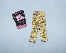BLACK w/ White Polkadots Yellow Pants Pajamas Sleep Wear Genuine BARBIE Outfit