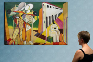 """57"""" REMEMBER DE CHIRICO's WORLD - huge original painting oil on canvas by ANA !!"""
