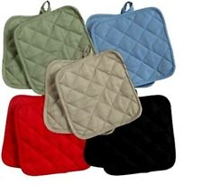 (2) Cotton Pot Holders Holder Green, Blue, Black, Red, or Tan~NEW