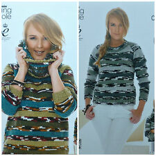 KNITTING PATTERN Ladies Easy Knit Long Sleeve, Long Jumper &Cowl Chunky KC 4029