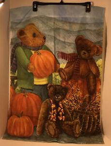 "Toland Lg Outdoor Garden Flag 24"" x 35"" October Bears W/Pumpkin Double Sided USA"