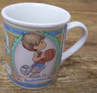 Precious Moments Enesco Basketball Coffee Mug Cup Go Team Dribble Pass Jump VTG