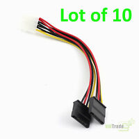 10-Pack IDE/Molex 4-Pin to DUAL 2 SATA 15-Pin Power Splitter Y Adapter Cable
