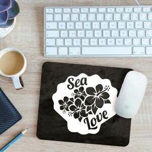 Sea Love With Flowers & Sea shell Mouse Mat Pad 24cm x 19cm