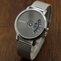 PAIDU Mens Casual Quartz Mesh Steel Band Gray/Silver Dial Wrist Watch Women Gift