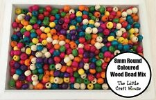 200 X 8mm Coloured Round Wood Beads Random Mix Wooden Bead Resource Craft