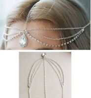 Women BOHO Party Crystal Silver Hair forehead chain head band Headband headpiece