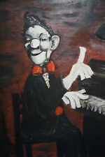 Piano man VINTAGE OIL PAINTING  PIANO MAN PLAYING PIANO 55 CM X 59 kitch retro