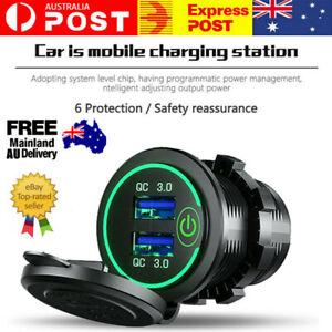 12-24V Fast Car Charger Socket Outlet QC 3.0 Dual USB Port For Car Truck Boat AU