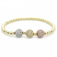 3 Color Cubic Zirconia Balls 4mm Copper Beads 18K Gold Plated Bracelets Gift