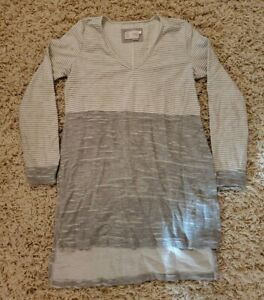 Saturday Sunday Anthropologie Gray White Striped Shift Dress Medium