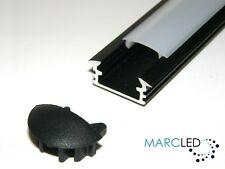 P1 Recessed Alu LED Profile, Anodized BLACK, OPAL Cover End Caps 2m (2000mm)