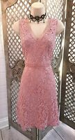 🌹DOROTHY PERKINS🌹PINK LACE FIT AND FLARE COCKTAIL DRESS 8 CRUISE WEDDING RACES