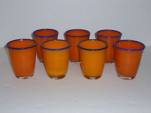 "Set of 7 Vintage Handblown Orange Rock Tumblers Cobalt Blue Rims 8 oz 4"" Tall"