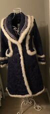 BCBG long Puffer Coat With Fur Trim Navy And White Size 4