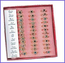 36 Metal Adjustable Heart & Flower Birthstone Rings Jewelry FREE SHIPPING Girls