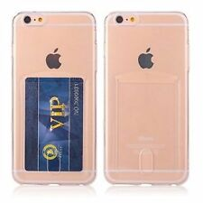 Silicone/Gel/Rubber Plain Card Pocket Cases & Covers for Apple Phones