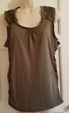 LIME LADIES SIZE 16 GREEN SEQUIN SLEEVELESS STRETCH TOP F4