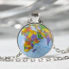 Globe Tibet silver Dome Glass Cabochon Necklace chain Pendant #214