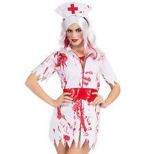 Bloody Zombie Womens Halloween Fancy Dress Horror Nurse Costume Outfit