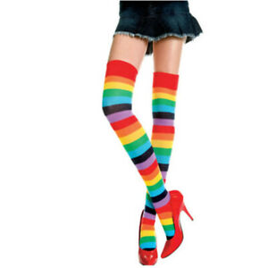 Rainbow Striped Socks Over Knee Thigh High Colorful Stockings Bright Costume