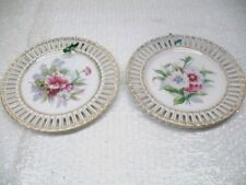 2 Vintage China Porcelain Reticulated Ribbon Plates Flowers Occupied Japan