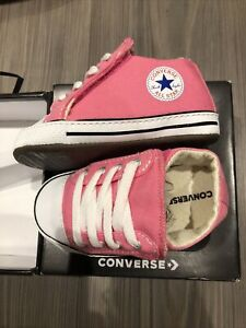 Converse Baby Girls Pink Converse Size 4 C4 Soft Bottom Shoes