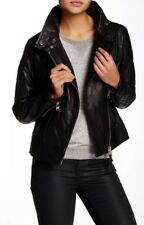 MACKAGE BLACK FEDERICA QUILTED MOTO LAMBSKIN LEATHER JACKET M $690