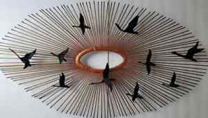 Mid Century Curtis Jere Style Birds In Flight Sunburst Brass Brutalist Wall Art