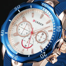 CURREN Luxury Blue Rubber Band Mens Quartz Sport Watch Vintage Relogio Masculino