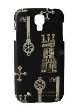 Nuevo Dolce & Gabbana Funda de Teléfono Cuero Negro Key Patrón Ajustada S4