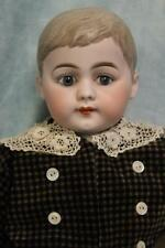 "23.5"" Antique German Bisque Boy Doll Molded hair Glass set eyes,adorably dressed"