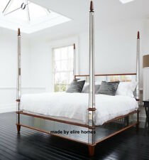 BESPOKE ~ 6' Super King Size Chatelet® mirrored mahogany wood four poster bed