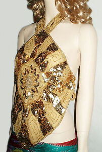 New Gold Sequined Beaded Halter Top Sexy Backless Club Wear Made in India, S-M